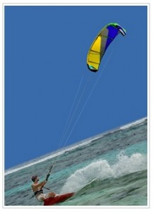 Kite surfer at Lux Le Morne Mauritius