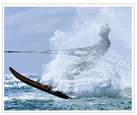 Water skier at Le Prince Maurice Hotel Mauritius