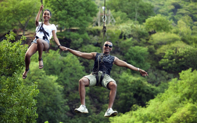 Ziplining at Casela World of Adventures