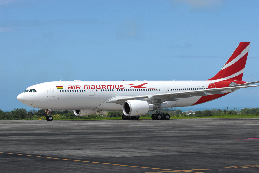 Air Mauritius plane at Mauritius Airport