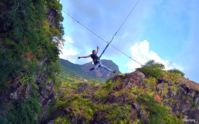 Canyon swing at Casela World of Adventures