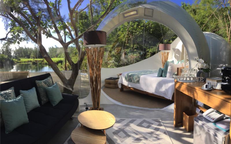 Interior of Bubble Lodge Mauritius